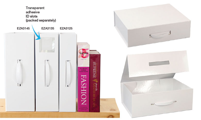 Magnetic Handle Gloss White Folio Boxes
