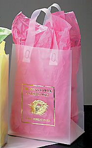 Clear Frosted Shopping Bags w/Soft Loop and Die Cut Handles