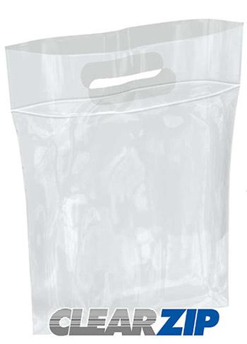 Die-Cut Handle ClearZip Plastic Bags w/Zip Closure