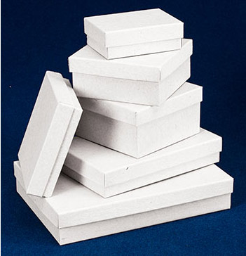 White Jewelry Boxes wFiber Insert US Box Corp