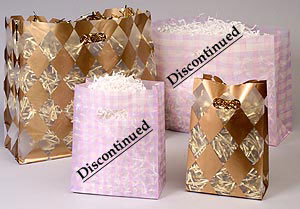 Gold Harlequin Frosted Plastic Patterned Bags w/ Die Cut Handle and Side Gusset