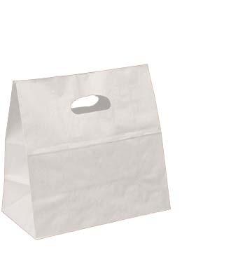 White Kraft Die-cut Take Out Bag