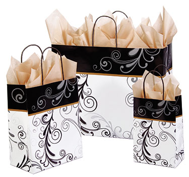 Elegant Flourish Paper Shopping Bags
