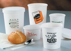 Custom Printed White Paper Bowls w/Lids