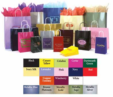 Paper Bags w/Twisted Paper Handles, Gloss Colors on White Base