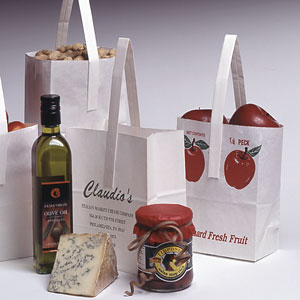 Single Handle Paper Tote Bag w/Flat Bottom and Side Gussets