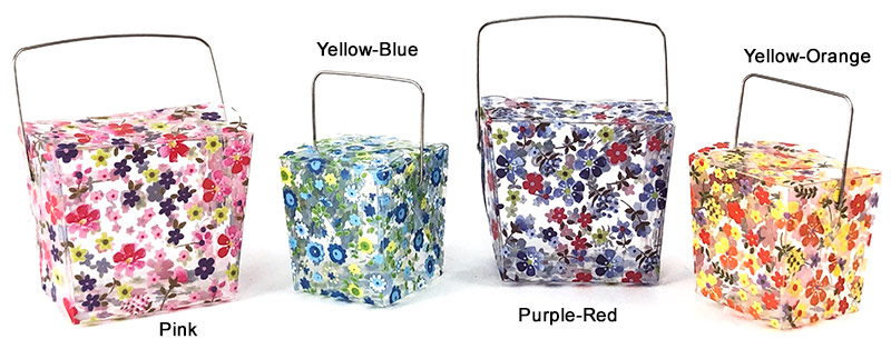 PET Clear Floral Print Take Out Boxes