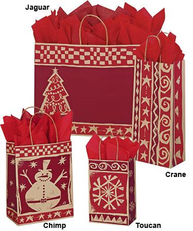 Homespun Christmas Paper Shopping Bags
