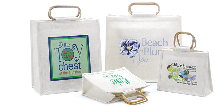 Custom Printed Cane Handled Jute Shopping Bags