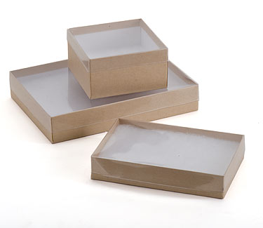 View top boxes with natural kraft base us box corp for Small cardboard jewelry boxes with lids