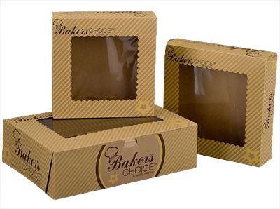 Baker's Choice Kraft Windowed Cake Bakery Boxes