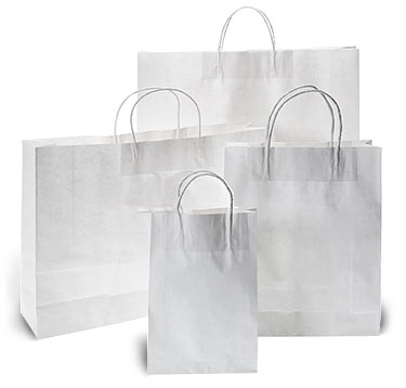 White Kraft Paper Bags with Twisted Paper Handle