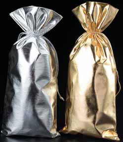 Metallic Lame Wine Bags