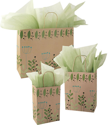 Leaves and Berries Paper Shopping Bags