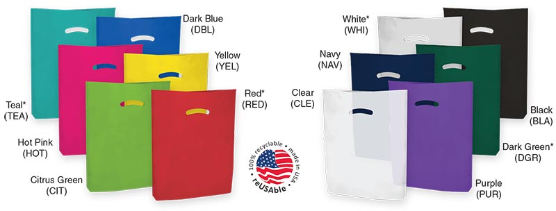 100% Recyclable Low Density Colored Die-Cut Handle Plastic Bags