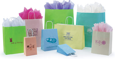 Paper Bags w/Twisted Paper Handles, Matte Colors on White Base