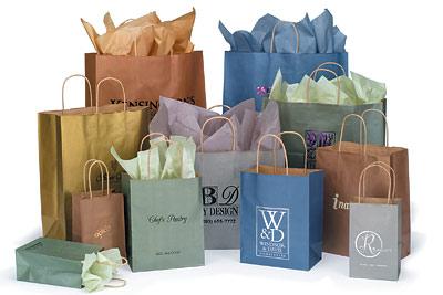 Paper Bags W Twisted Handles Metallic Colors On Kraft Base