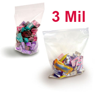 Crystal Clear 3 Mil FDA Polypropylene Zip Style Bags