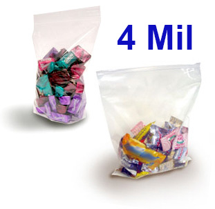 Crystal Clear 4 Mil FDA Polypropylene Zip Style Bags