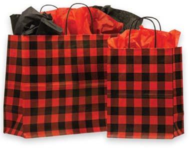Red Buffalo Plaid Paper Shopping Bags