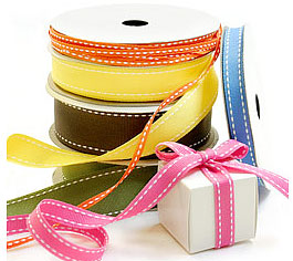 Grosgrain fabric Ribbon w/Saddle Stitch Pattern