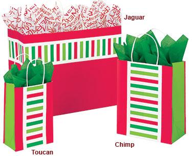 Santa Stripe Paper Shopping Bags