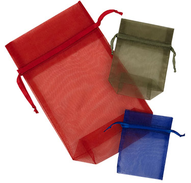 Sheer Organza Satin Cord Gift and Wine Pouches