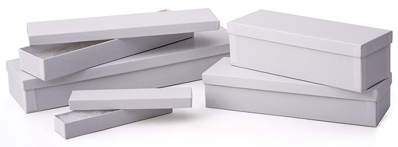 2 Piece White Swirl Silverware Boxes