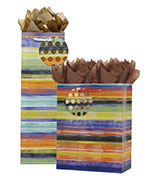 Painted Stripe Gift Totes Rope Handles Collection