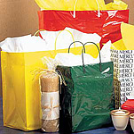 Plastic Shopping Bags w/Rigid Plastic Handle