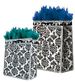 Black Damask Gift Totes Rope Handles Collection