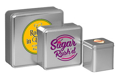Silver Color Metallic Tins w/Full Color Imprint