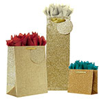 Gold Sparkle Gift Totes Ribbon Handles Collection