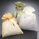 Sheer Bags With Satin Flower Bud
