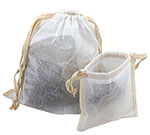 Sheer Muslin Pouches w/ Cotton Twill Ribbon Drawstring & Serged Seams