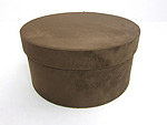 Dk Brown Faux Suede Round Fabric Boxes