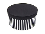 Black and White Stripe Oval Fabric Boxes