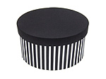 Stripe Base With Solid Lid Round Fabric Boxes