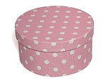 Pink with White Polka Dots Oval Fabric Boxes