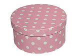 White Polka Dots on Pink Round Fabric Boxes