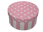 Pink and White Stripe Round Fabric Boxes