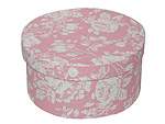 White Roses on Pink Round Fabric Boxes