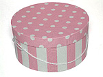 Pink and White Stripe 2 Hat Boxes