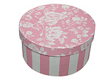 Pink and White Stripes with White Roses Round Fabric Boxes