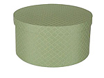 Green Checks Round Fabric Boxes