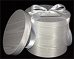 Round White Moire Wedding Boxes