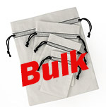 Bulk Bleached White Cotton Pouch  w/ Black Cords