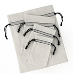 12 Packs Bleached White Cotton Pouch  w/ Black Cords