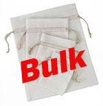 Bulk Bleached White Cotton Pouch  w/ Ivory Cords