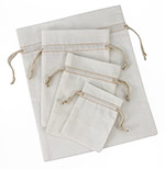 12 Pack Bleached White Cotton Pouch  w/ Ivory Cords